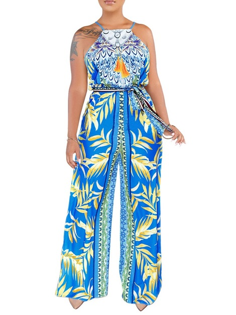 Fashion Plant Print Loose High Waist Women's Jumpsuit