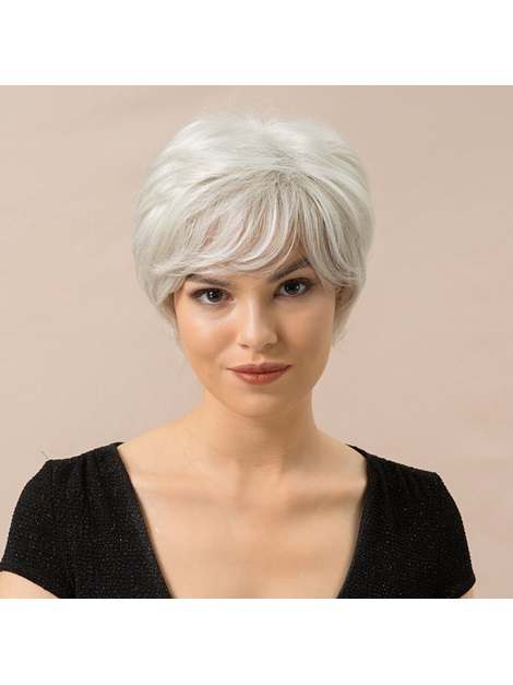 Affordable Design Women's Straight Human Hair Blend Wigs Rose Capless Wigs 8Inches