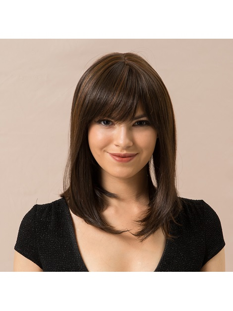 130% Density Women's Natural Straight Human Hair Blend Capless Wigs 14Inches
