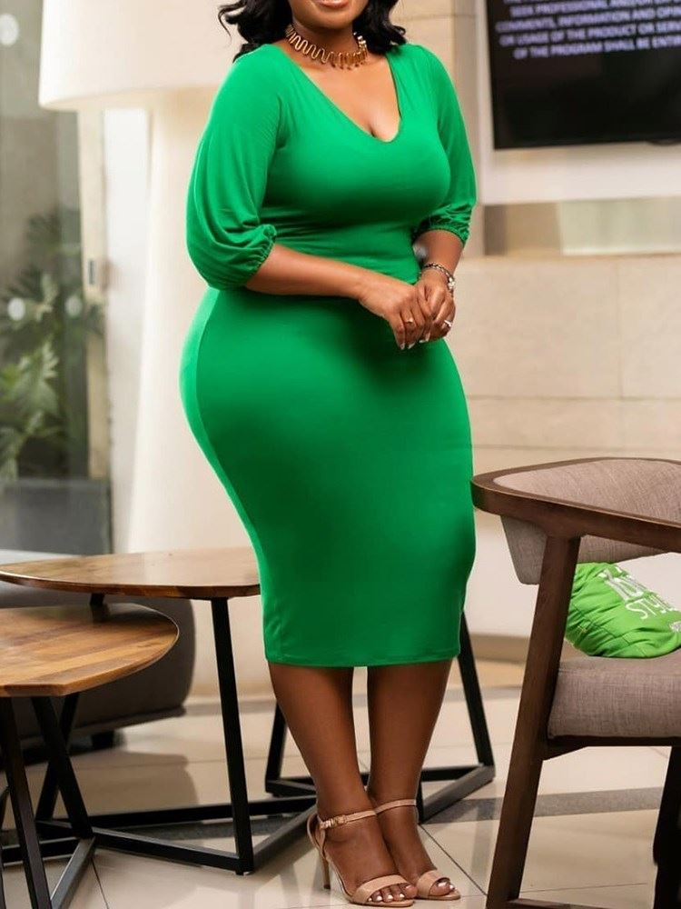 Plus SIze Mid-Calf Scoop 3/4 Sleeve Plain Womens Bodycon Dress