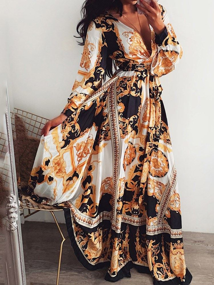 African Fashion Long Sleeve Print V-Neck Geometric Womens Maxi Dress