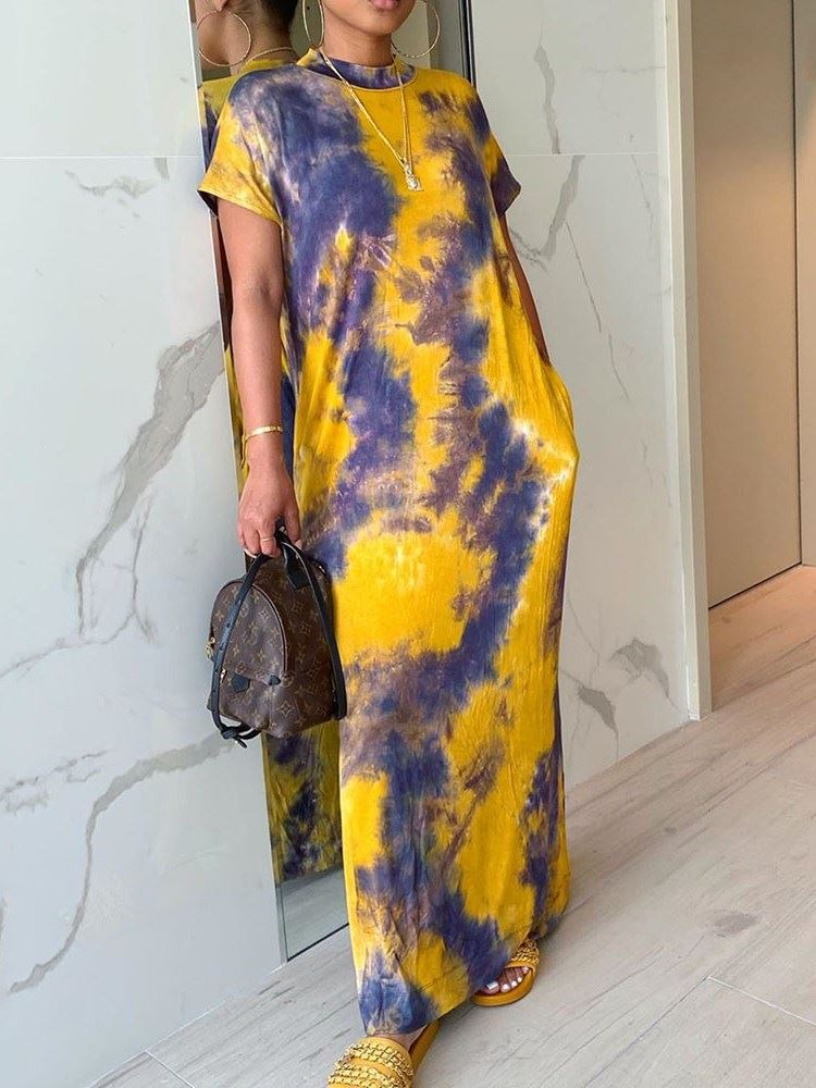 Tie-Dye Floor-Length Pullover Print Womens Maxi Dress