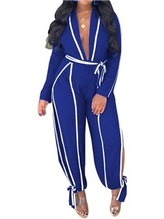Full Length Fashion Lace-Up Straight High Waist Women's Jumpsuit