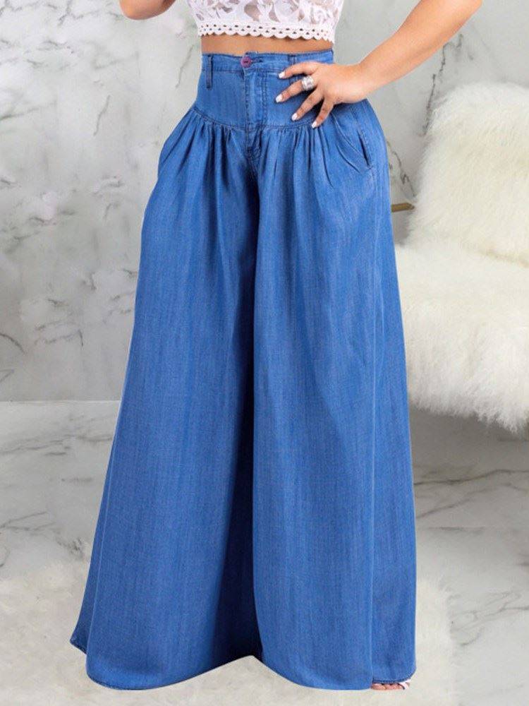 Wide Legs Pleated Plain High Waist Loose Womens Jeans