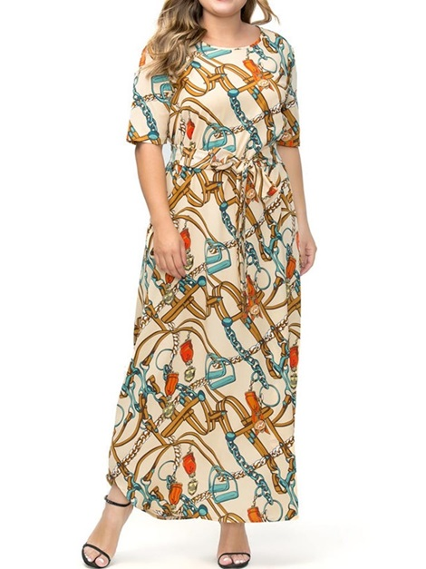 Plus Size Round Neck Ankle-Length Pullover Women's Maxi Dress