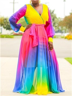 Plus Size  Color Block Lantern Sleeve Women's Maxi Dress 1