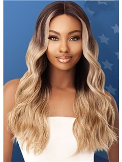 Women's Long Length Ombre Blonde Color Body Wave Synthetic Hair Wigs Rose Capless Wigs 26inches 3