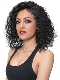 Medium Hairstyle Women's Natural Color Kinky Curly Synthetic Hair Capless Wigs 16Inches 3