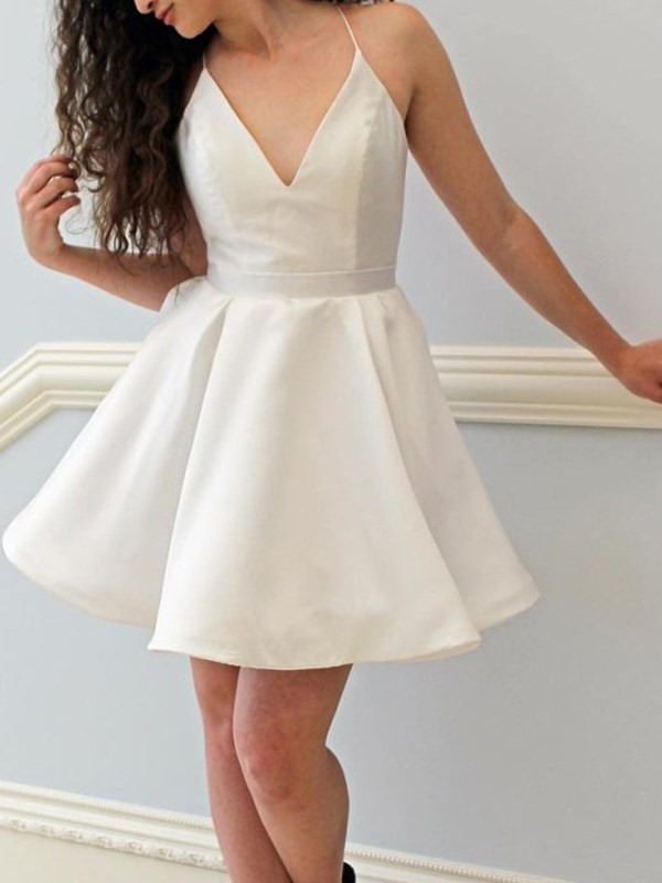 Short Sleeveless Pleats A-Line Homecoming Dress 2019