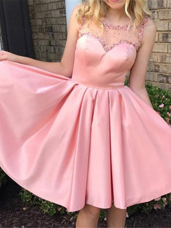 Beading Scoop Knee-Length A-Line Homecoming Dress 2019