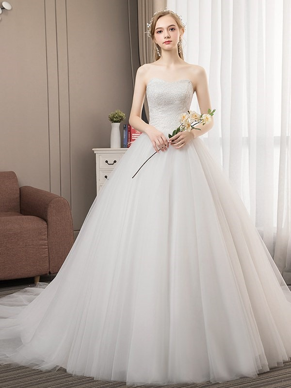 Beading Chapel Sweetheart Floor-Length Church Wedding Dress 2019
