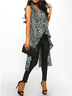 Summer Asymmetric Leopard Mid-Length Women's Tank Top