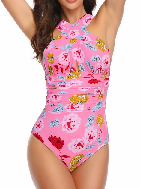 Plus Size Color Block Floral One Piece Swimwear