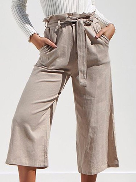 Plain Loose Lace-Up High Waist Wide Legs Women's Casual Pants