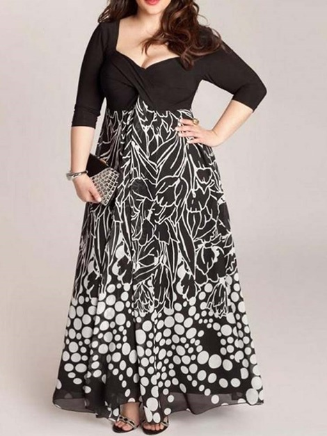 Plus Size Three-Quarter Sleeve Print Ankle-Length Women's Maxi Dress