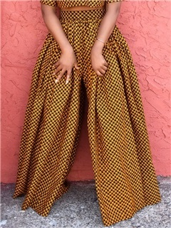 Print African Fashion Color Block Loose Full Length Wide Legs Women's Casual Pants 10