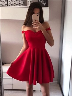 Mini Off-The-Shoulder A-Line Sleeveless Homecoming Dress 2019