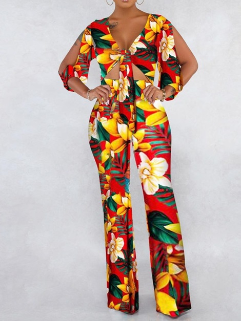 Lace-Up Full Length Floral Loose Wide Legs Women's Jumpsuit