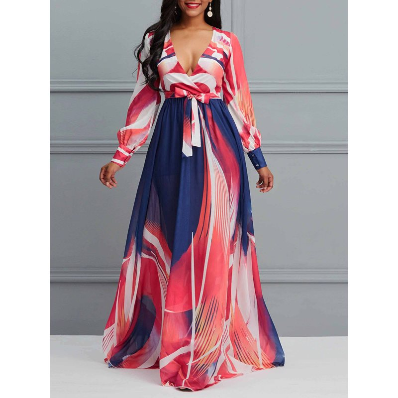 V-Neck Floor-Length Long Sleeve Expansion Womens Maxi Dress