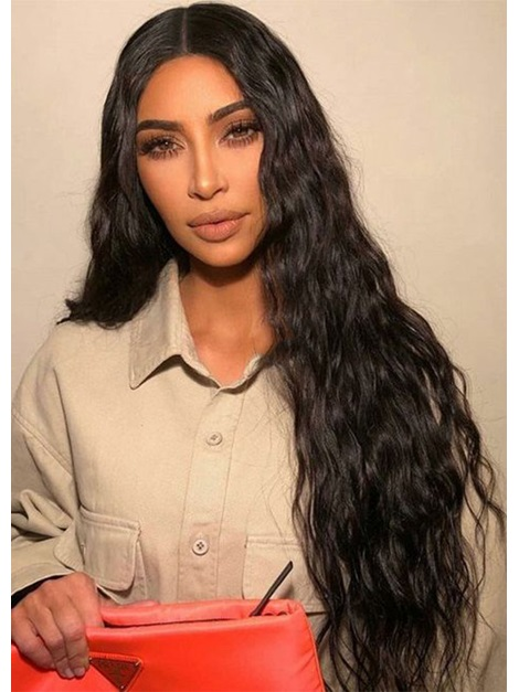 Women's 100% Human Hair Wigs Curly Natural Looking Long Length Lace Front Wigs 26inch