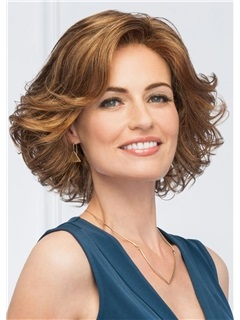 Natural Wavy Middle Synthetic Hair Lace Front Wigs Glamour Short Hairstyle For Women In Party 16Inch 5