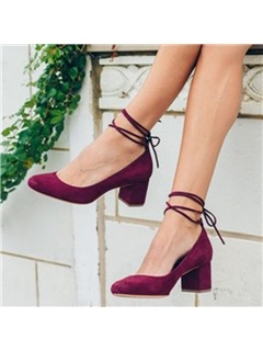 Round Toe Chunky Heel Lace-Up Vintage Pumps 6