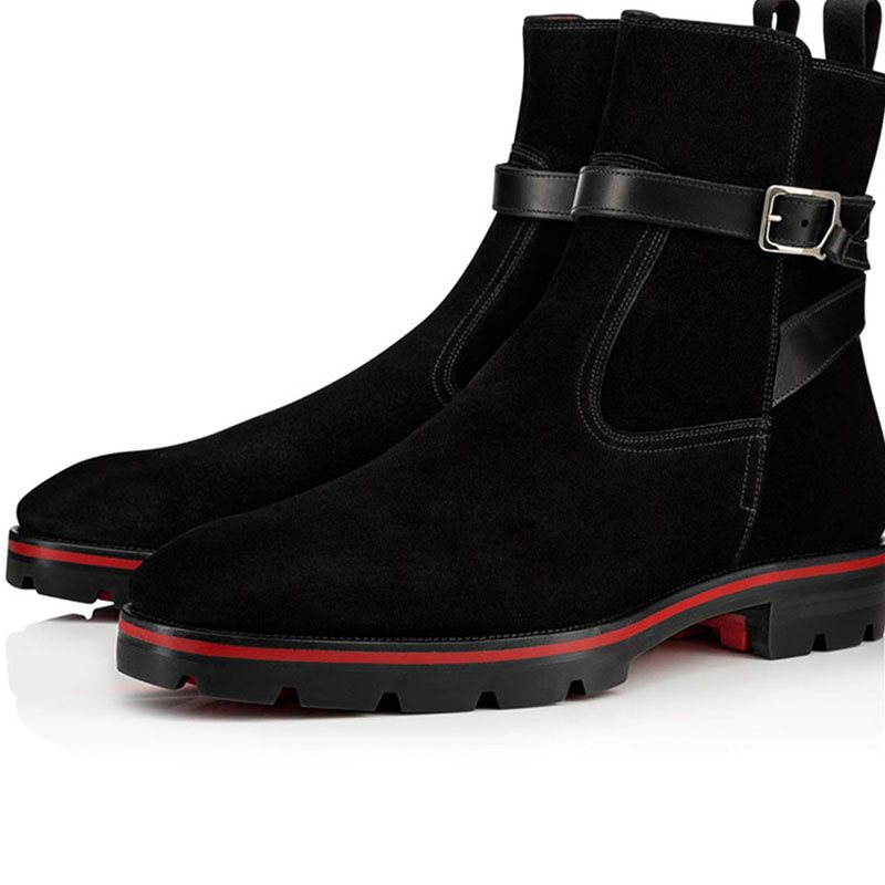 Suede Hasp Color Block Round Toe Mens Ankle Boots фото