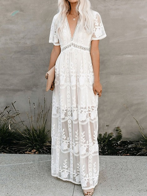 Short Sleeve Lace Ankle-Length Floral Women's Maxi Dress