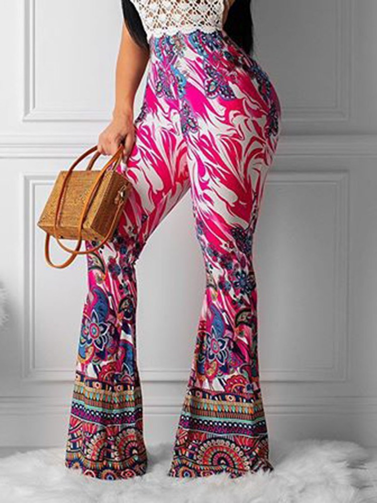 Slim Print Floral Bellbottoms Full Length Womens Casual Pants