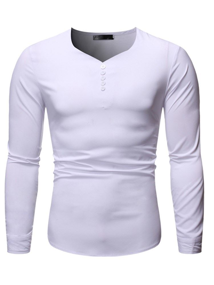 Button Casual Plain V-Neck Slim Mens Shirt