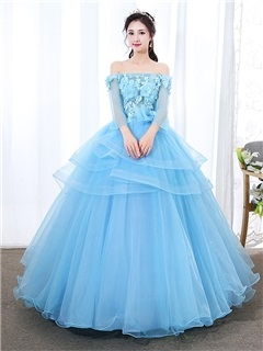 Off-The-Shoulder Appliques 3/4 Length Sleeves Floor-Length Quinceanera Dress 2019