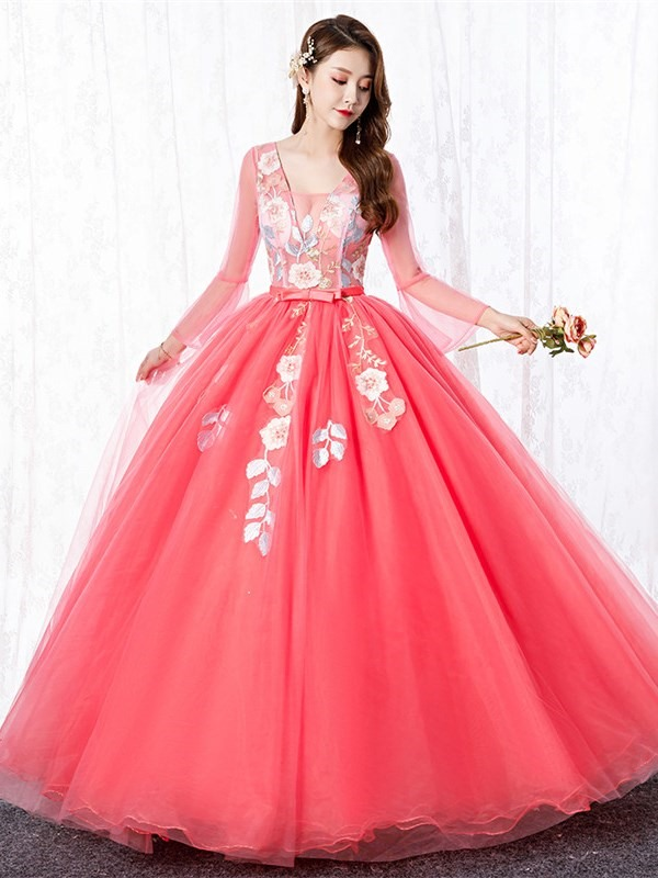 Ball Gown Long Sleeves Floor-Length Appliques Quinceanera Dress 2019