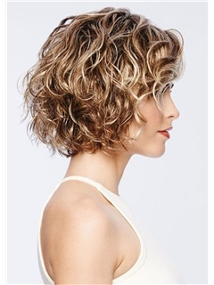 Short Curly Hairstyles Women's Blonde Color Lace Front Cap Wigs 100% Human Hair Wigs 14Inch 5