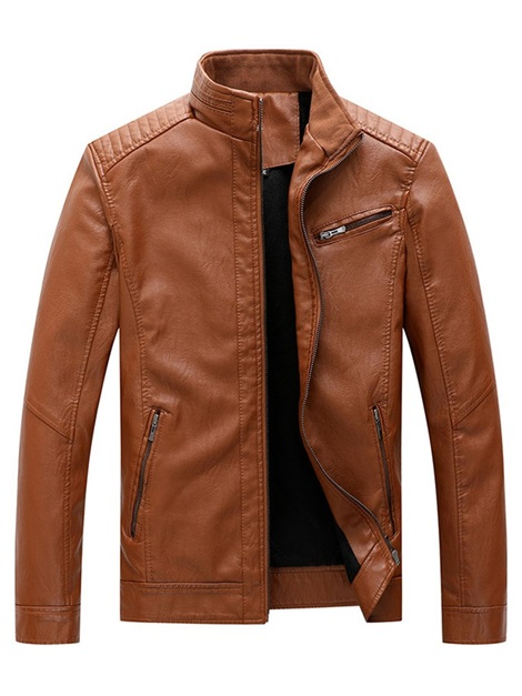 Zipper Plain Stand Collar Men's Jacket