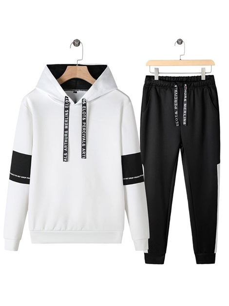 Letter Hoodie Print Casual Spring Men's Outfits