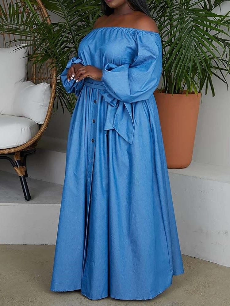 Plus Size Floor-Length Long Sleeve Off Shoulder Expansion Womens Dress фото