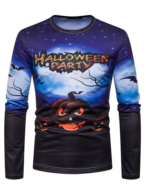 Print Casual Letter Round Neck Straight Men's Halloween Costume Shirt