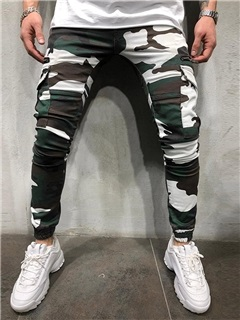 Zipper Camouflage Overall Casual Men's Casual Pants