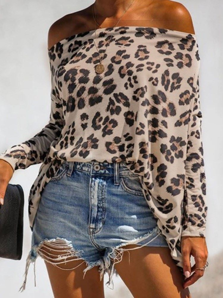 Batwing Sleeve Leopard Off Shoulder Long Sleeve Mid-Length Womens Blouse