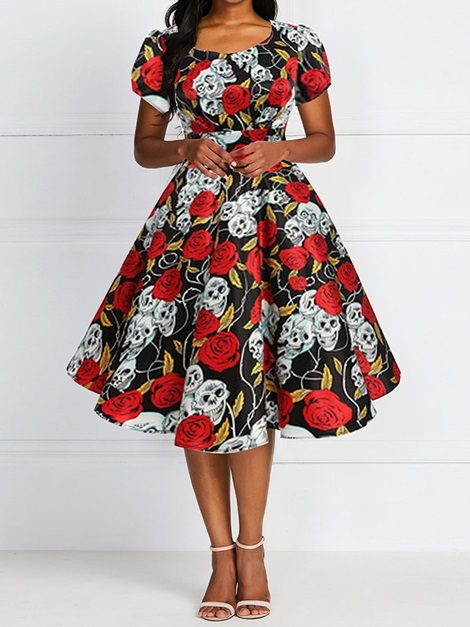 Halloween Costume Print Round Neck Short Sleeve Floral Expansion Women's Dress