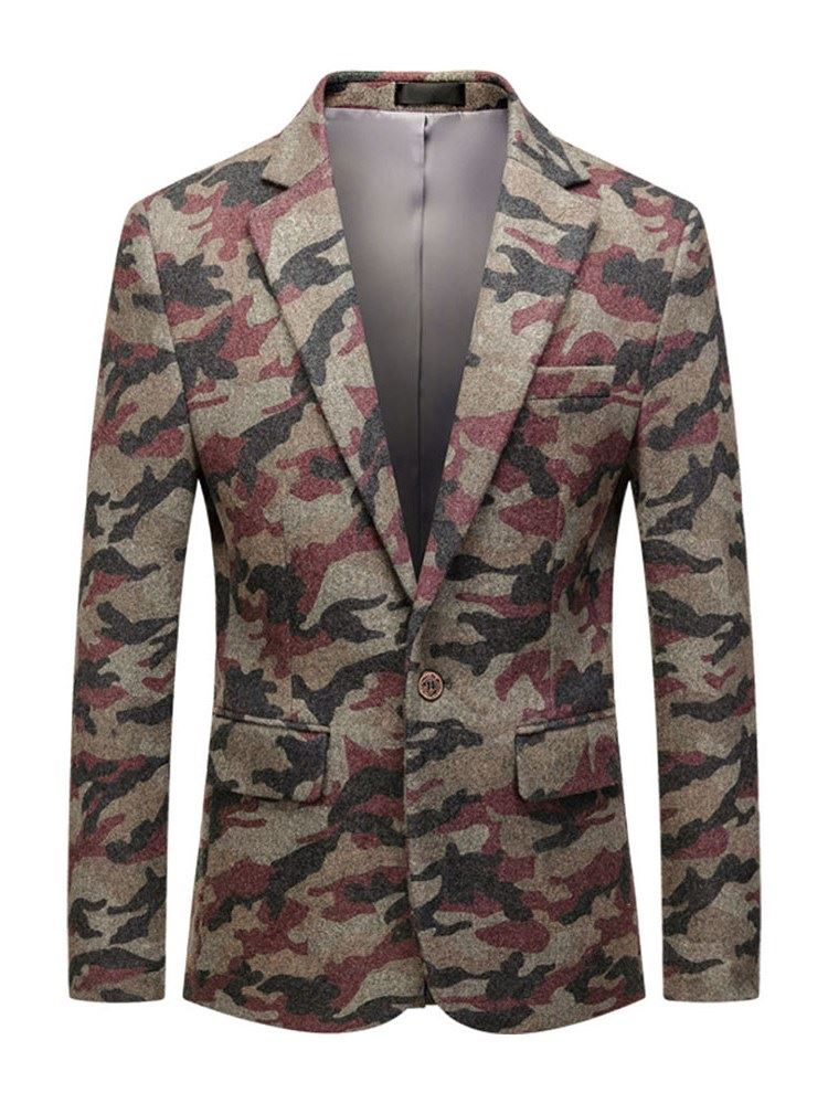 Notched Lapel Camouflage Button One Button Mens Leisure Blazers