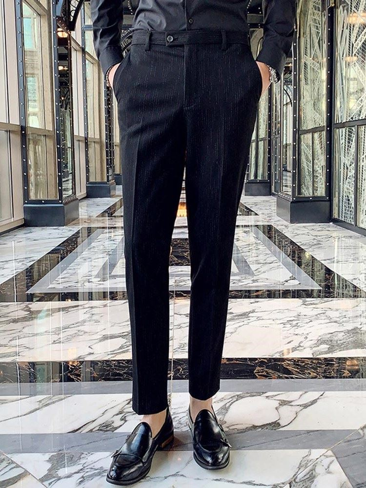 Casual Straight Pocket Color Block Mens Suit Trousers