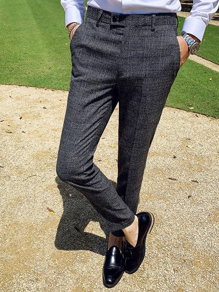 Casual Ankle Length Straight Plaid Mens Suit Trousers фото