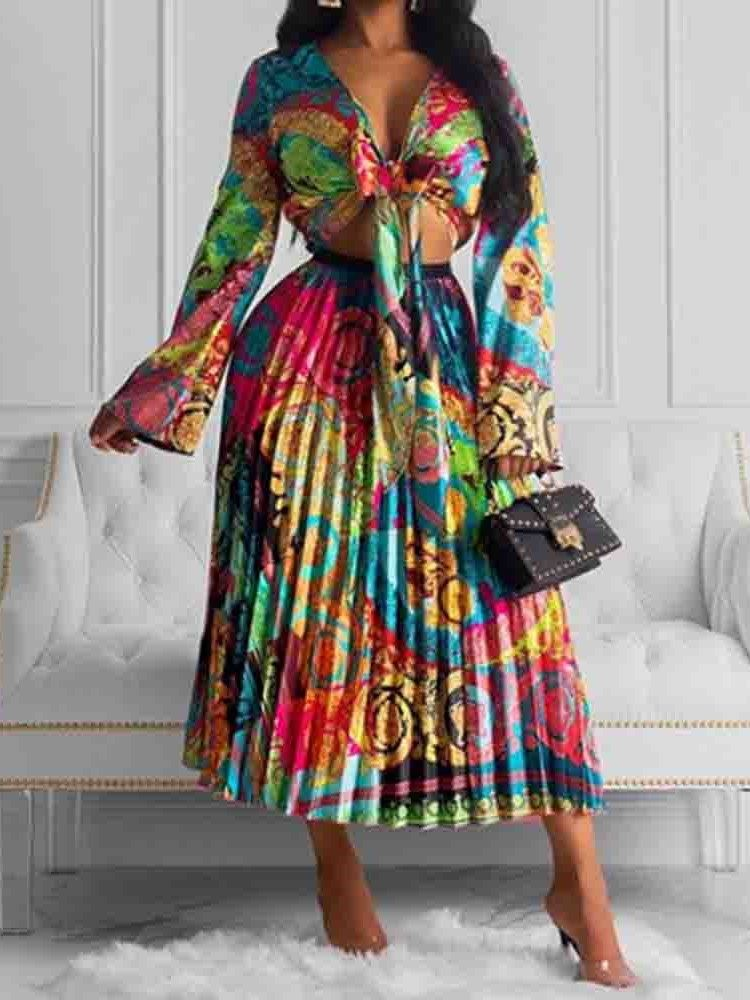 Color Block V-Neck Pleated Womens Two Piece Sets