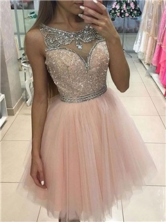 A-Line Scoop Neck Beading Pink Homecoming Dress 2019