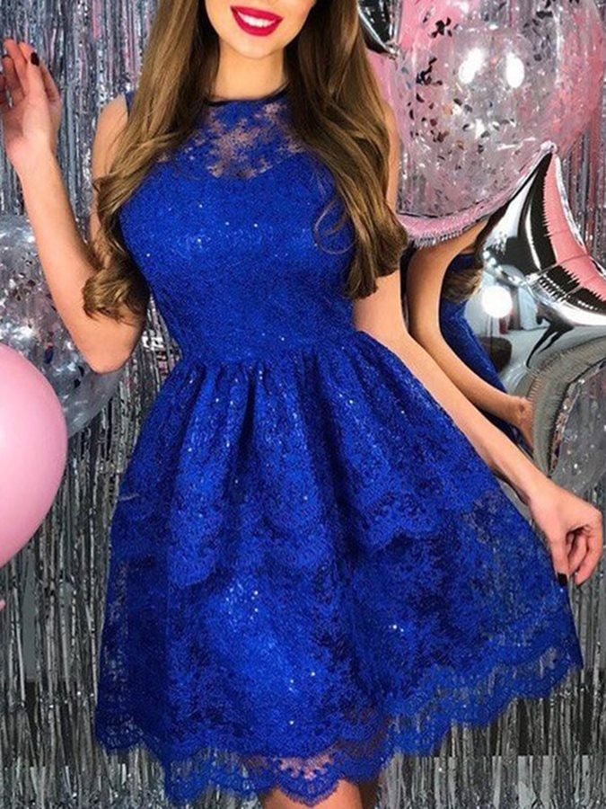 Jewel Neck Sequins Lace Homecoming Dress 2019
