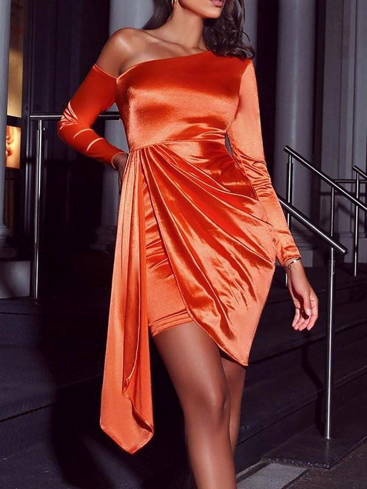 Oblique Collar Above Knee Long Sleeve Fashion Asymmetrical Womens Dress