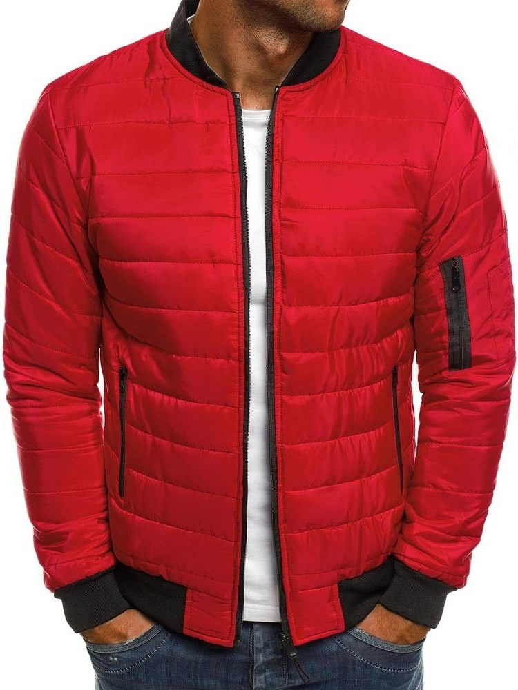 Stand Collar Standard Color Block Zipper Mens Down Jacket фото