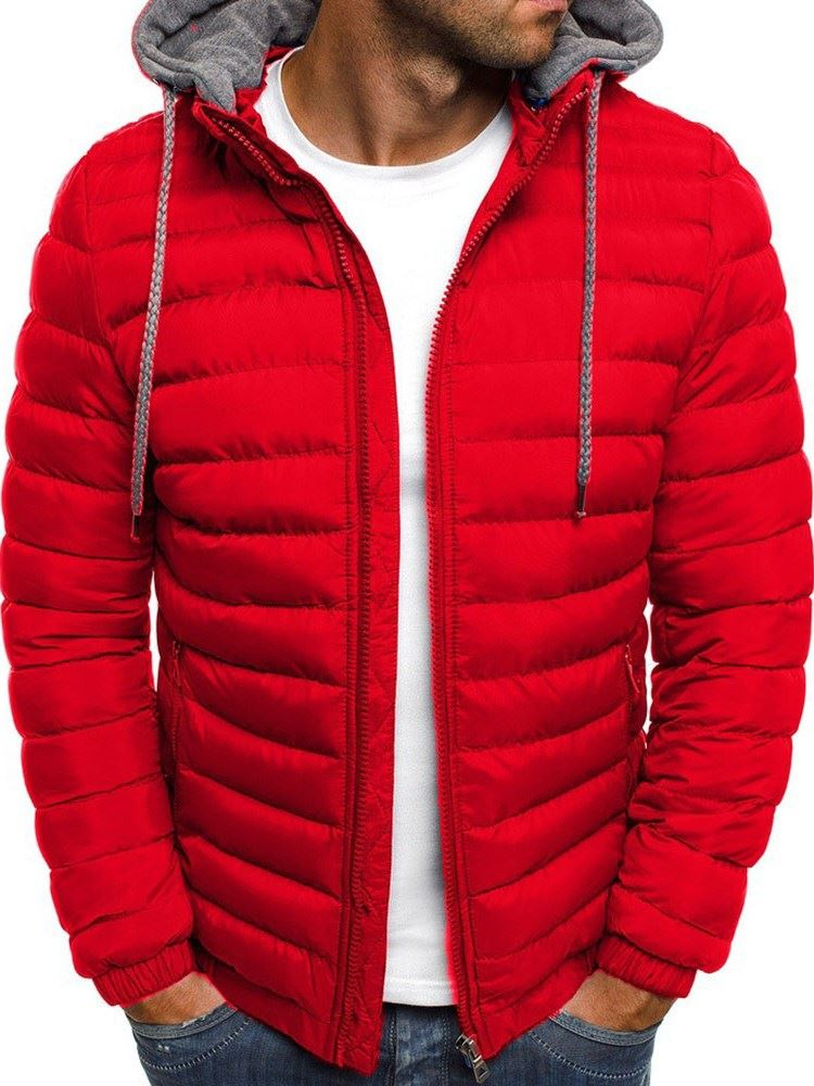 Standard Hooded Color Block Patchwork Casual Mens Down Jacket фото