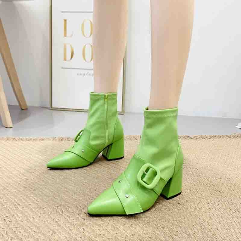 Neon Pointed Toe Side Zipper Chunky Heel Ankle Boots